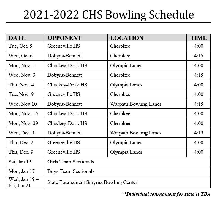 2021-2022 CHS Bowling Schedule