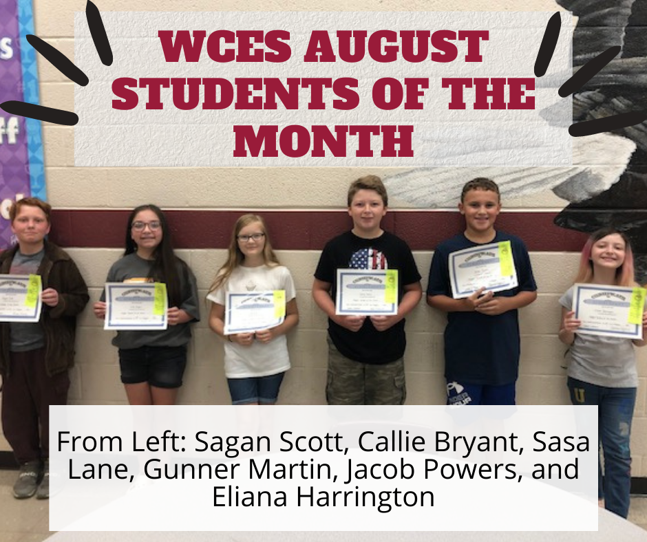 WCES August 2021 Students of the Month