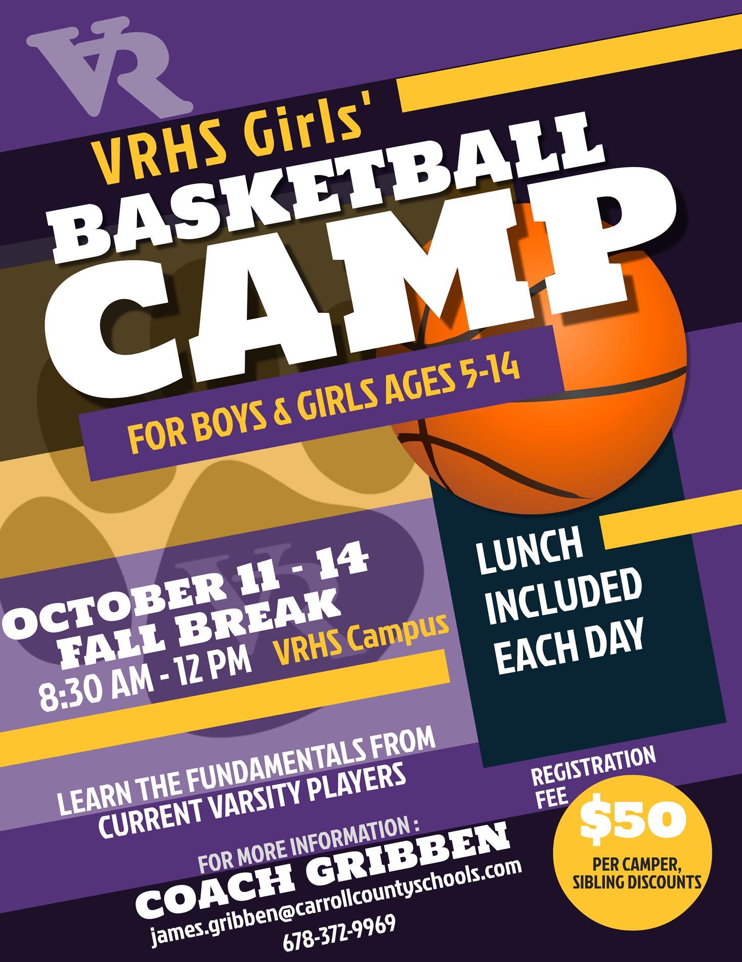 VRHS Girls Basketball Camp flyer