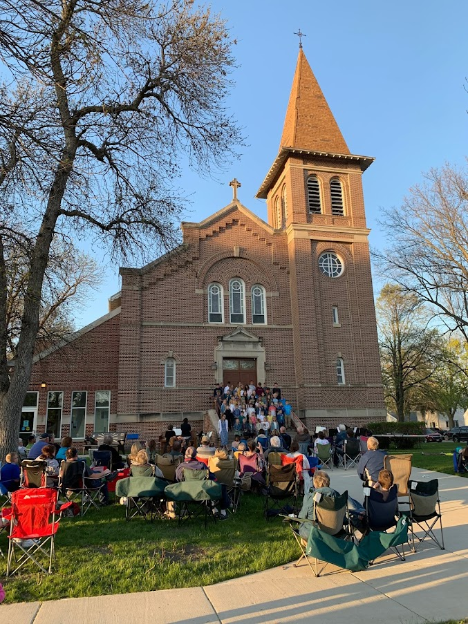 Outdoor Spring Concert  -- beautiful weather, just a little windy