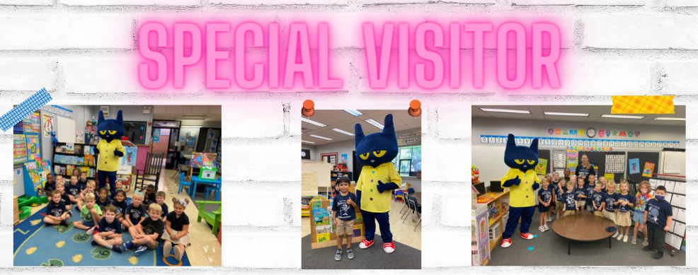 Pete the Cat with some of our Kindergarten students.