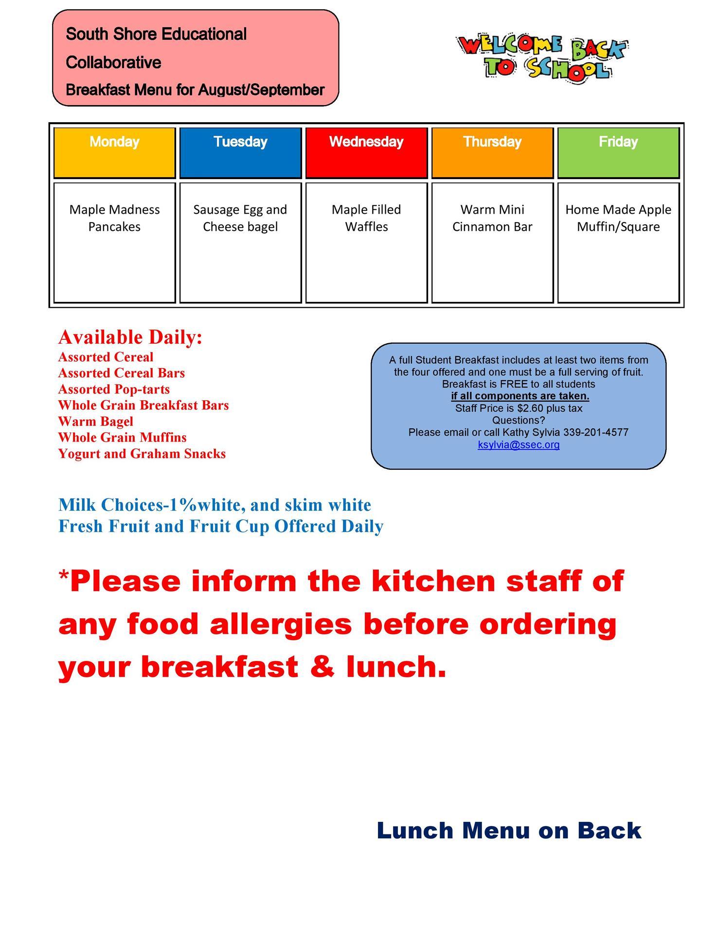 August and September 2021 Breakfast Menu