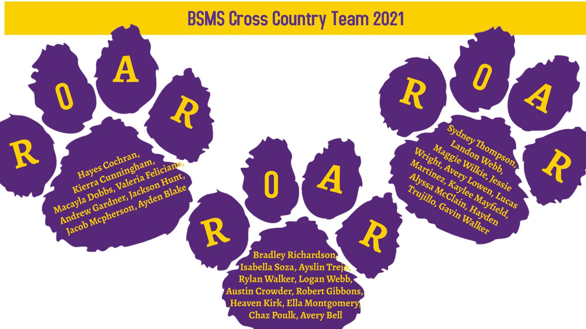 2021 BSMS Cross Country Team