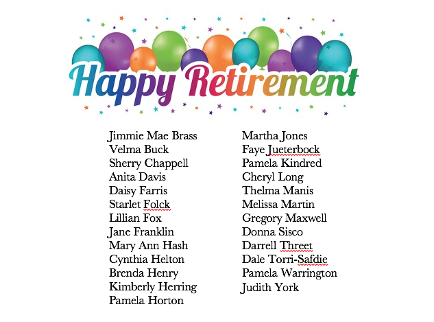 Retirement Name List