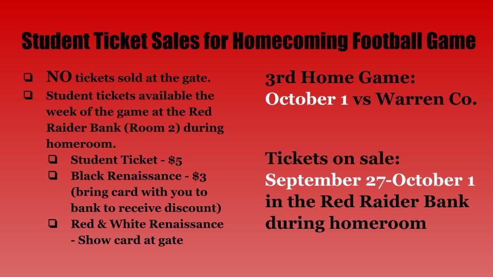 Warren County Football Ticket Sales