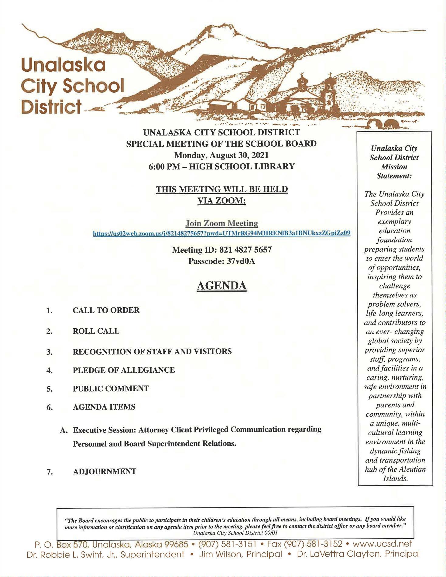 08/30/2021 Special School Board Meeting Agenda