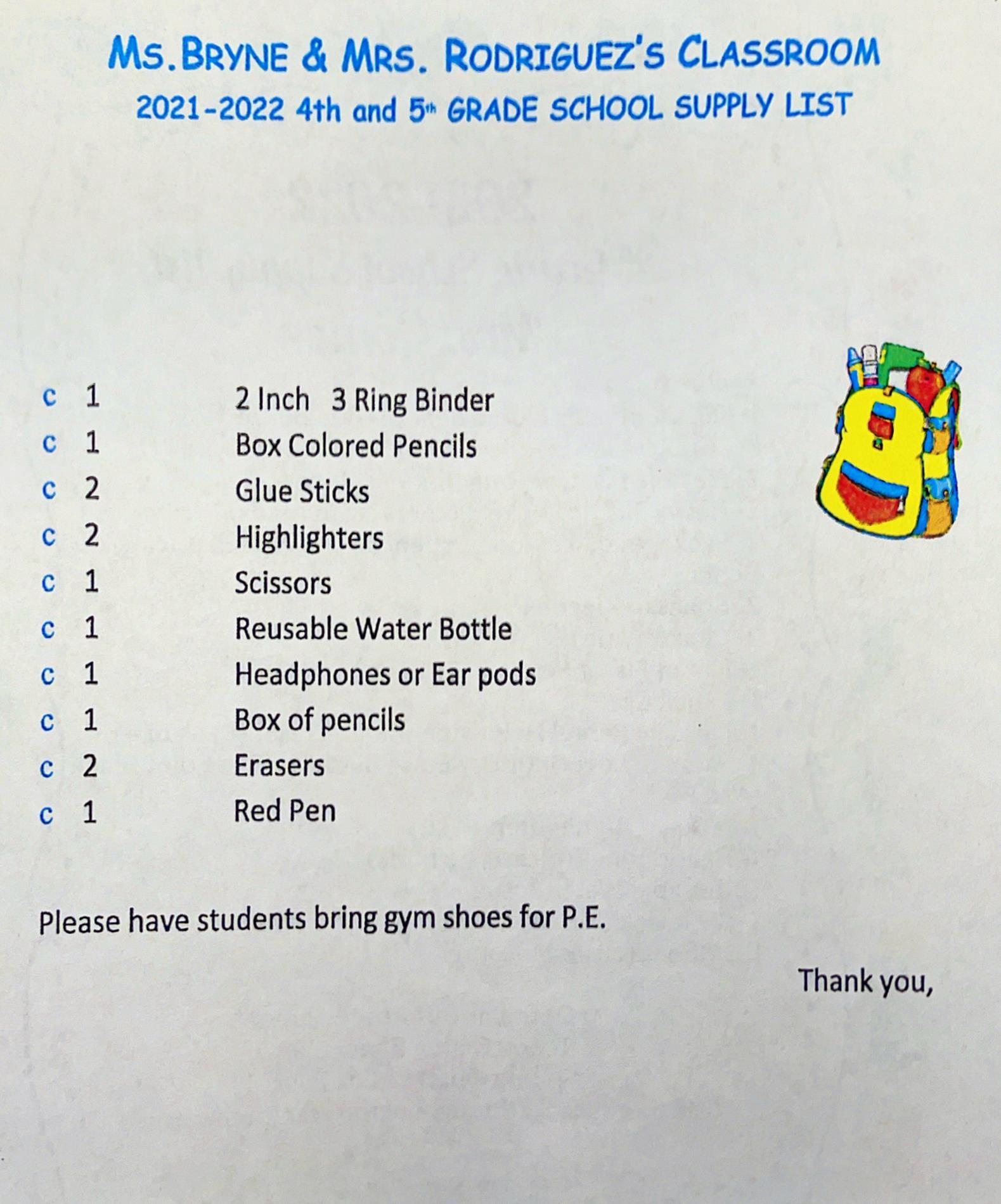 Fourth & Fifth Grade List