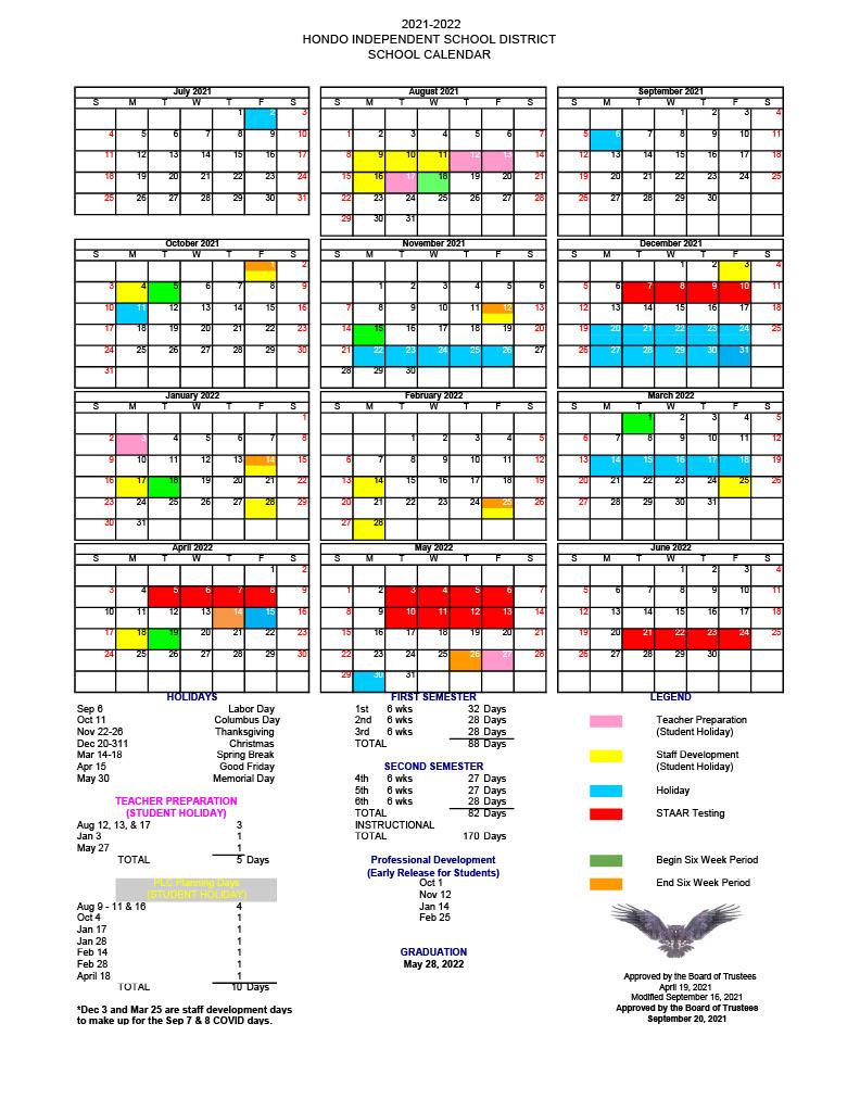 21-22 Updated School Calendar
