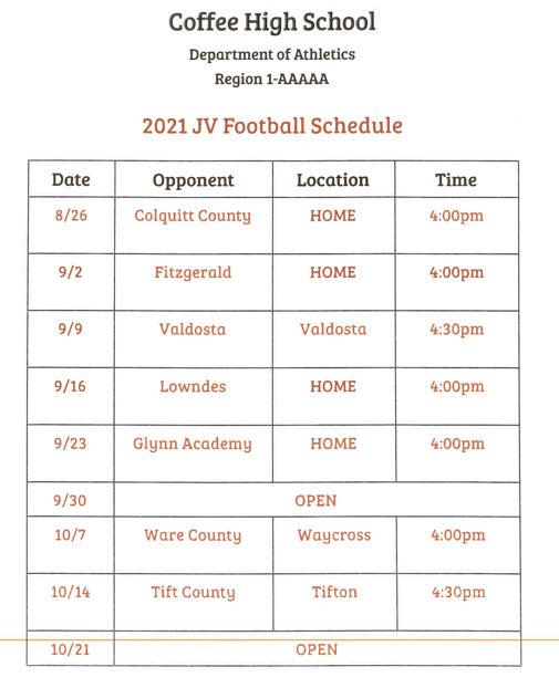 2021 CHS JV Football Schedule