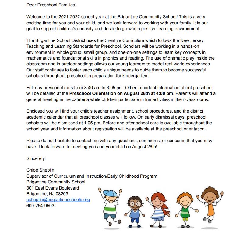 Preschool Letter to Parents