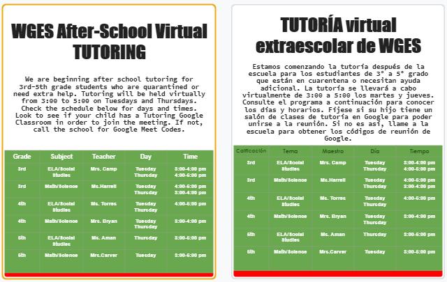 Virtual Tutoring Announcement