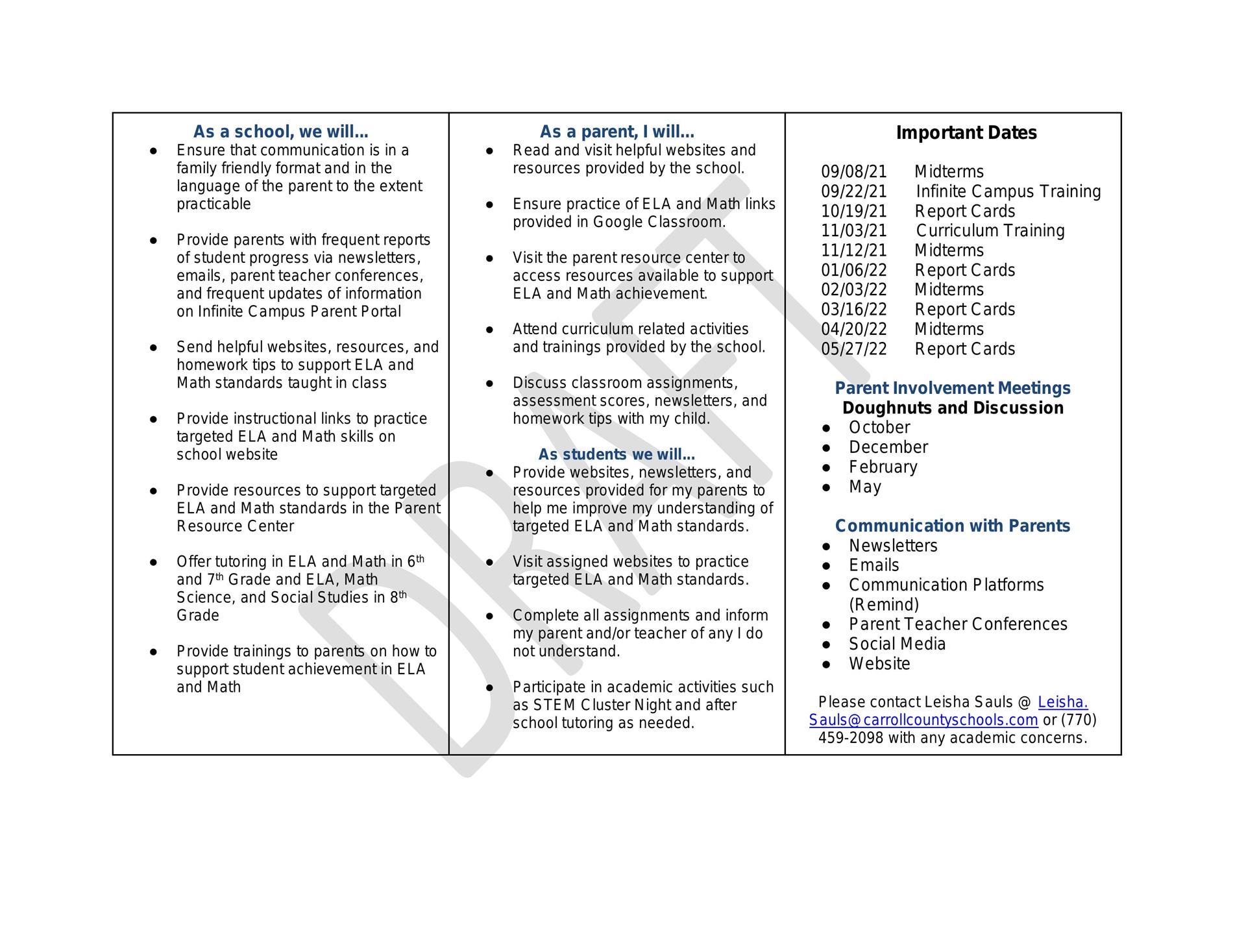 BSMS FY 21-22 Parent Compact Letter
