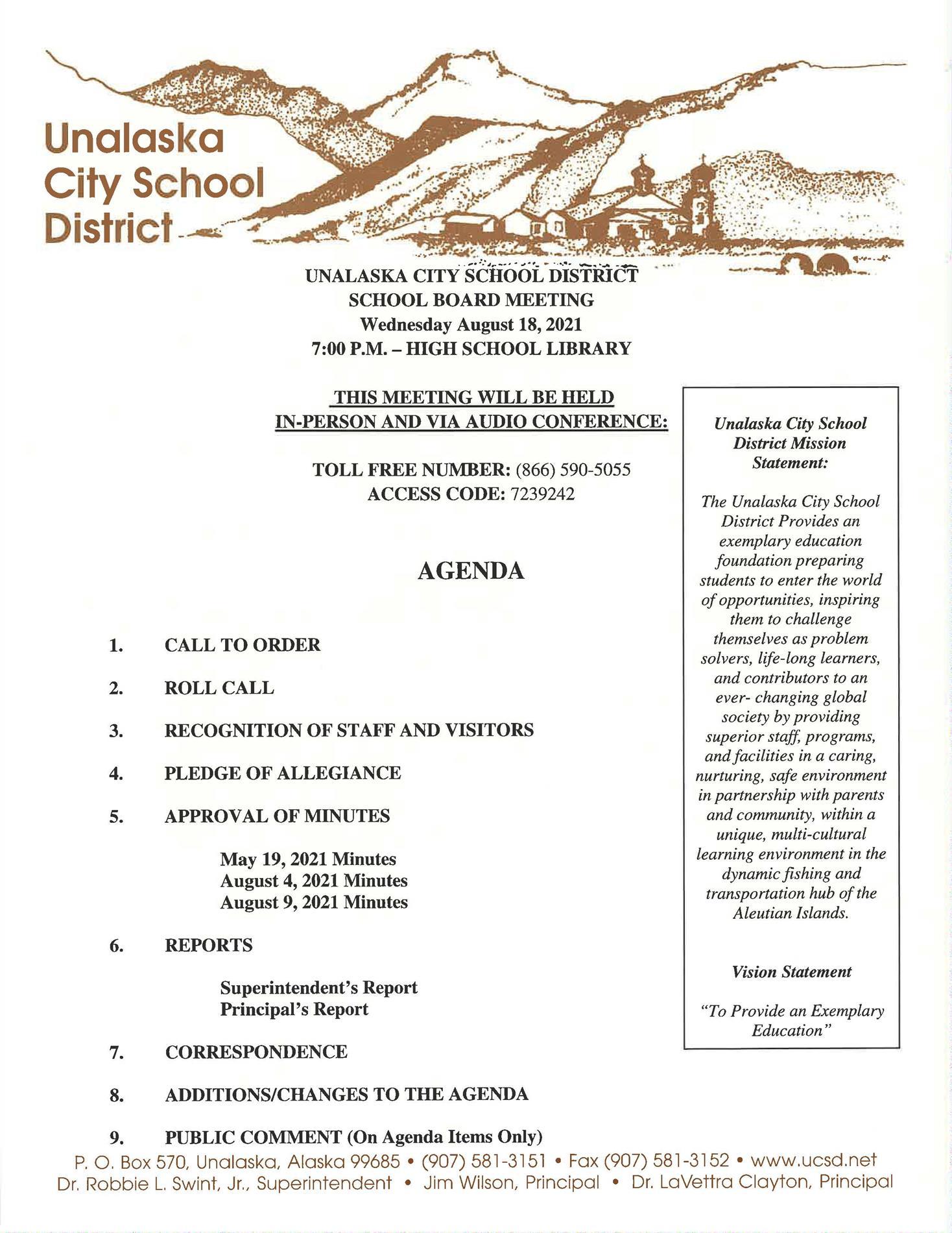 08/18/2021 School Board Meeting Agenda
