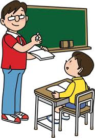 Teacher and student in class