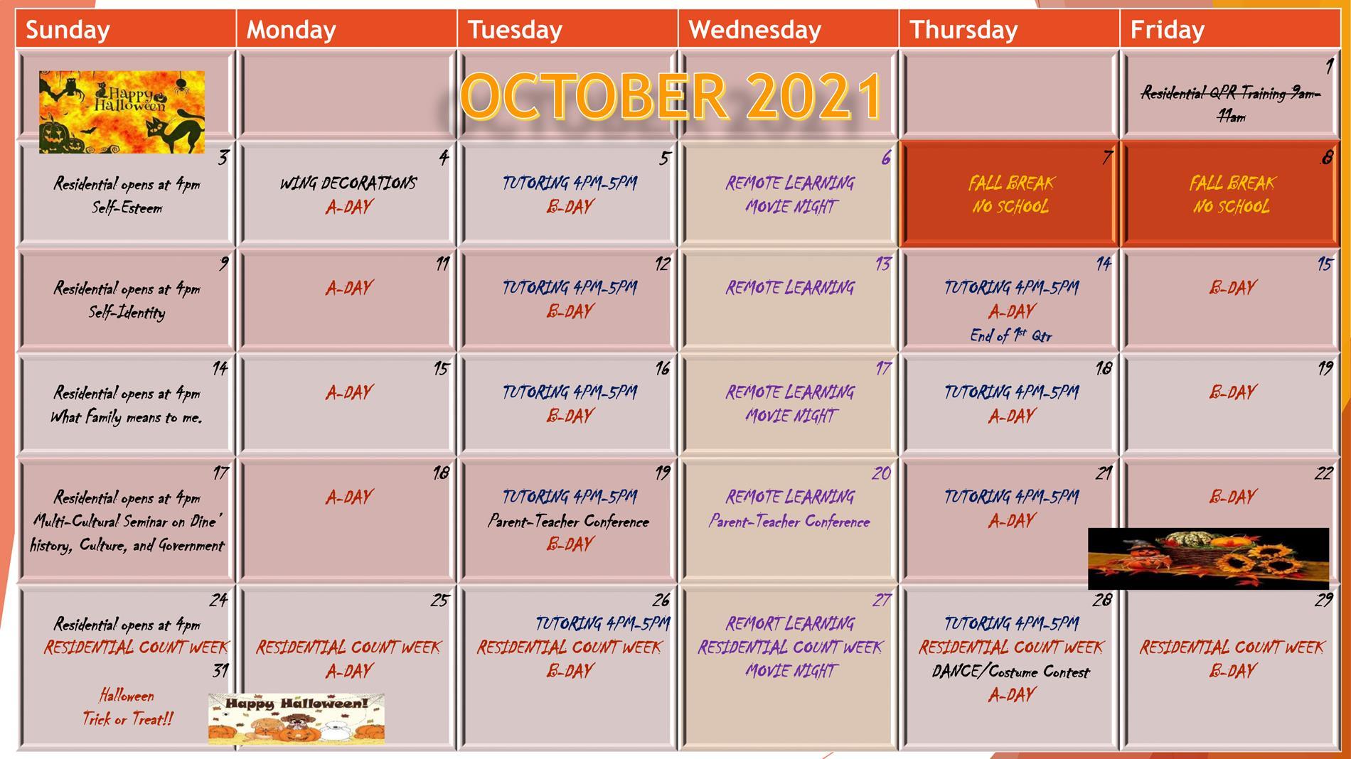 residential calendar