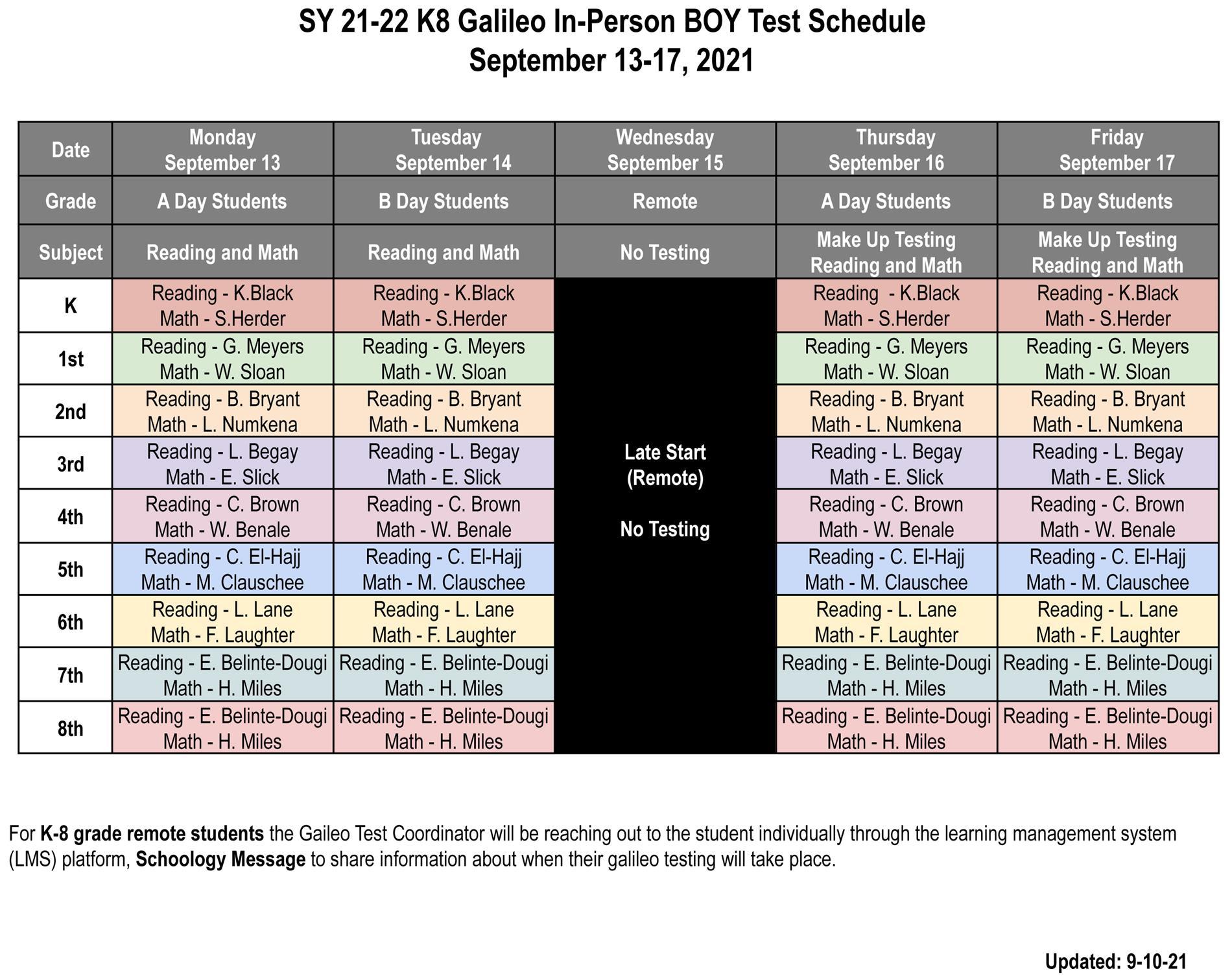 boy galileo schedule