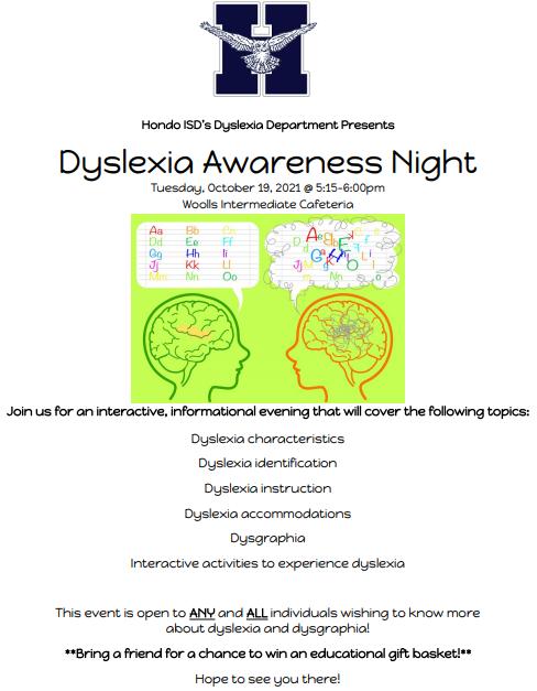 Dyslexia Awareness Night Flyer
