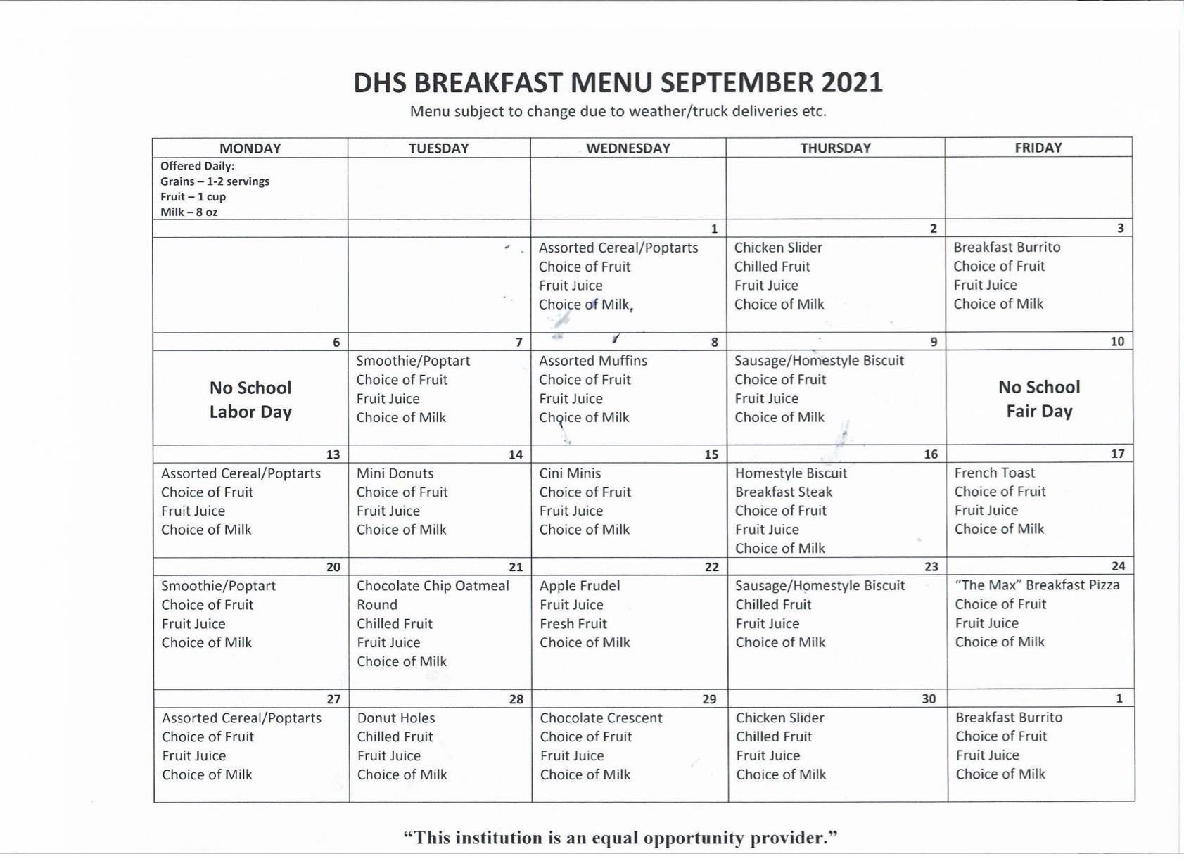 DHS Breakfast Menu