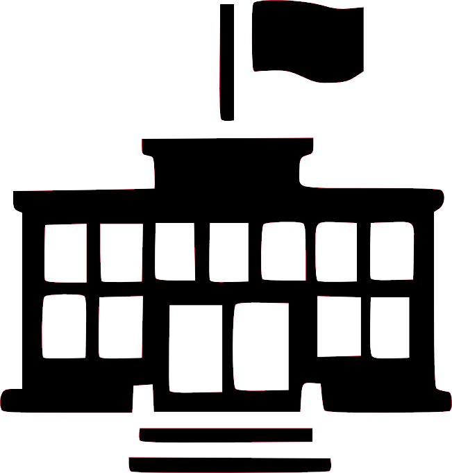 silhouette of a school