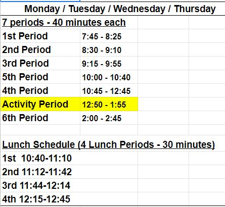 Homecoming Bell Schedule