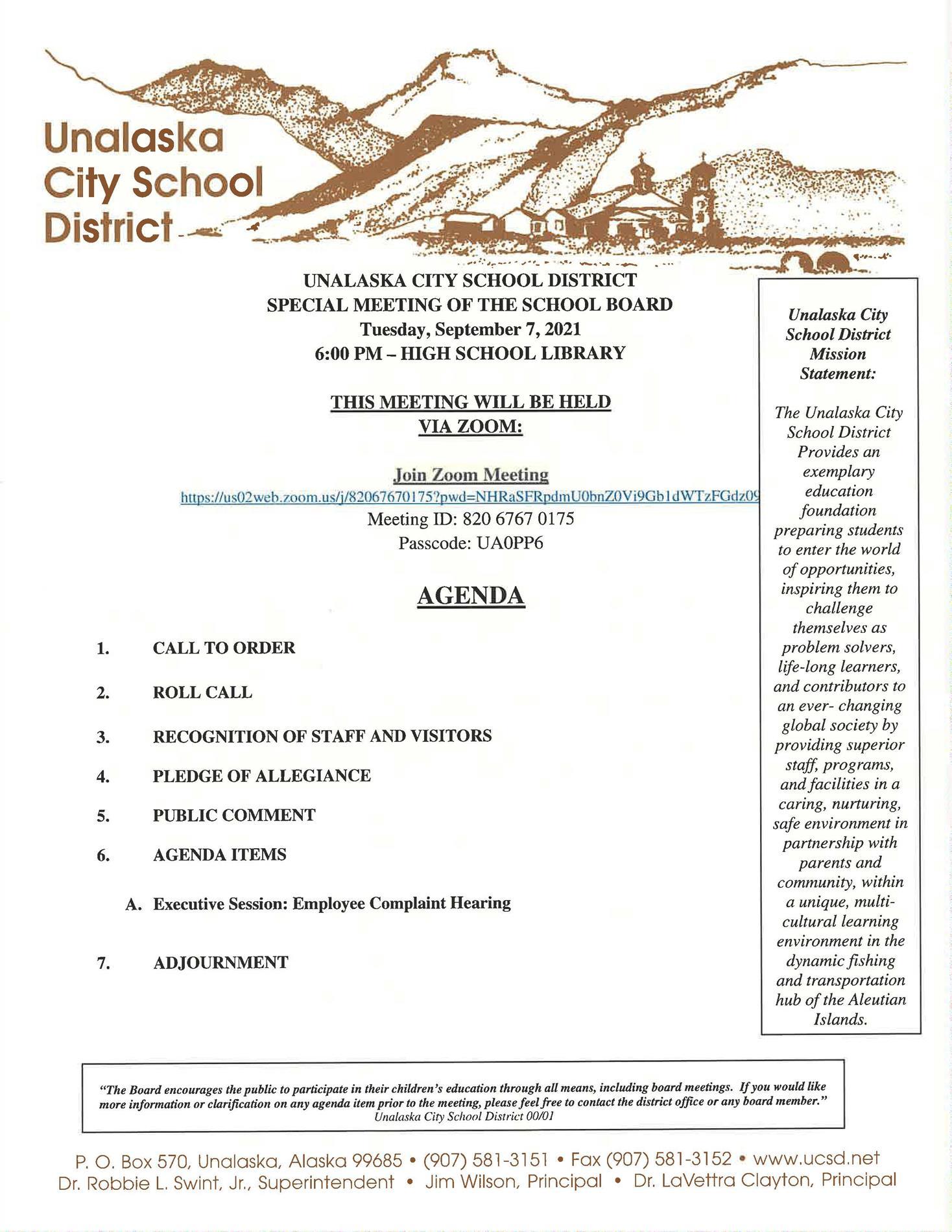 09/07/2021 Special School Board Meeting Agenda