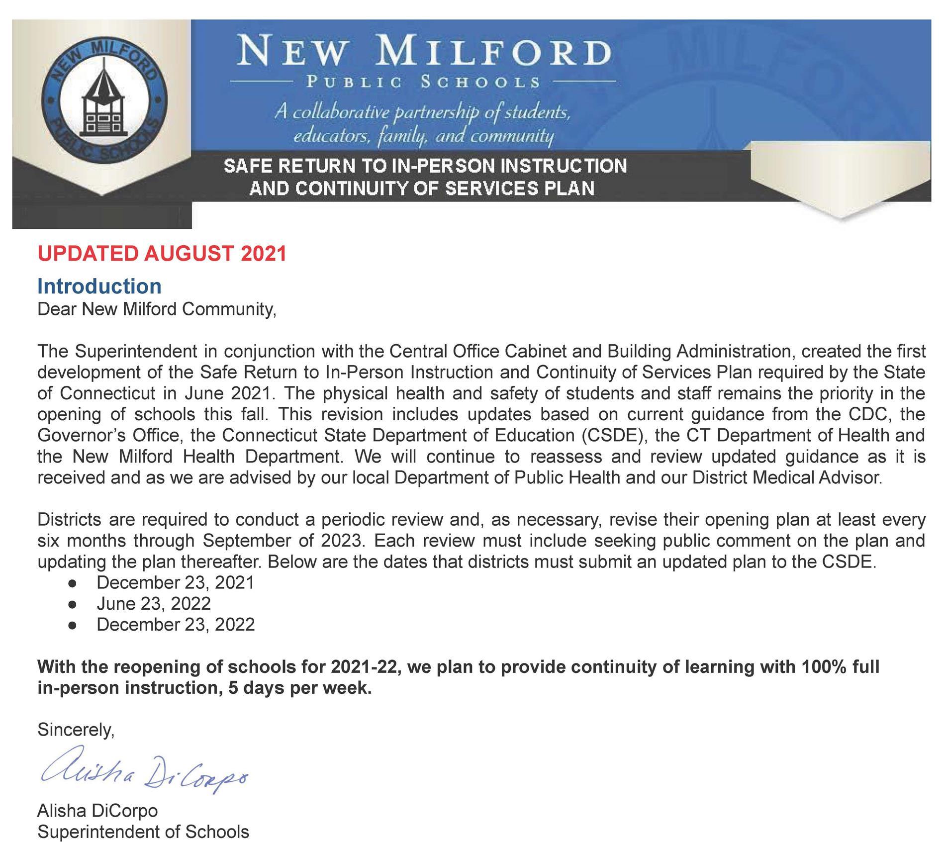 Safe Return Plan cover