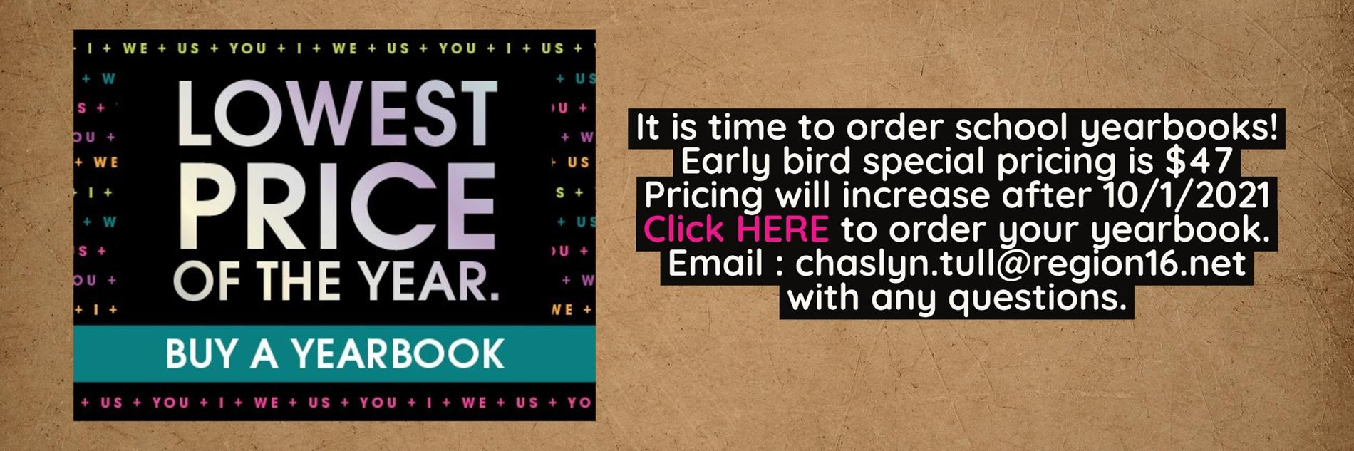 Click Here to purchase your yearbook!