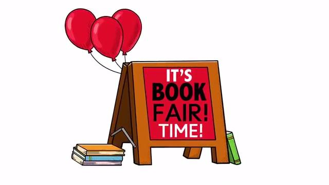 """Sign saying """"It's book fair time"""""""