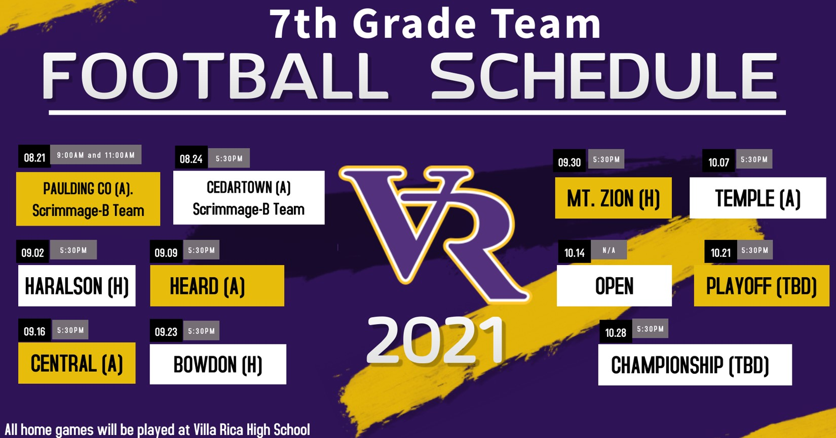 7th grade football schedule photo