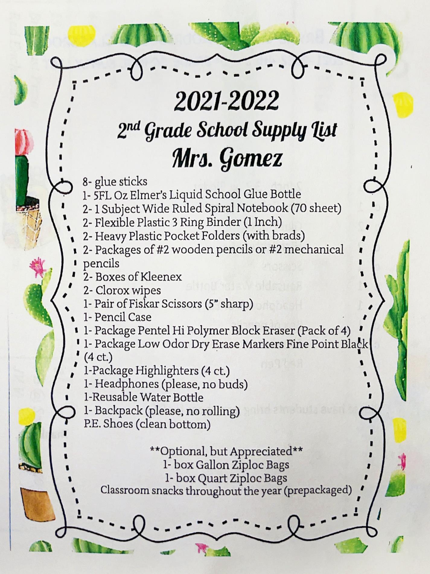 Second Grade List