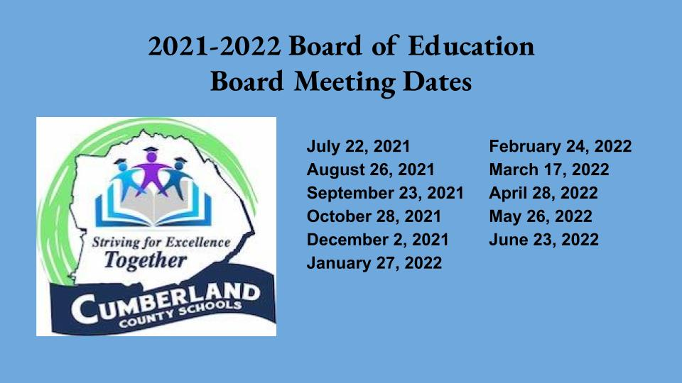 Board of Education Meeting Dates