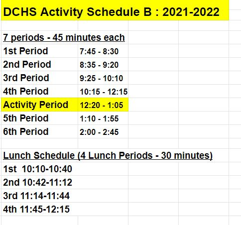 Bell Schedule B