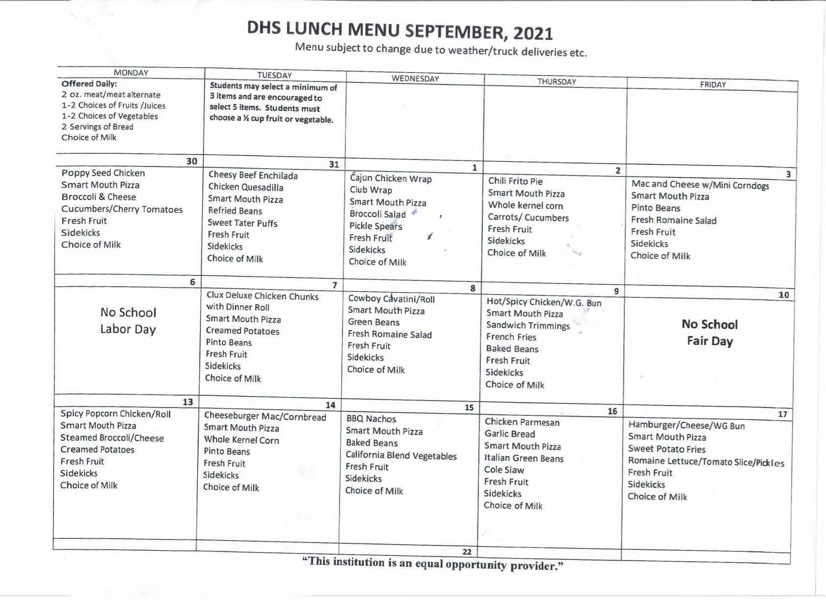 DHS Lunch Menu Page 1