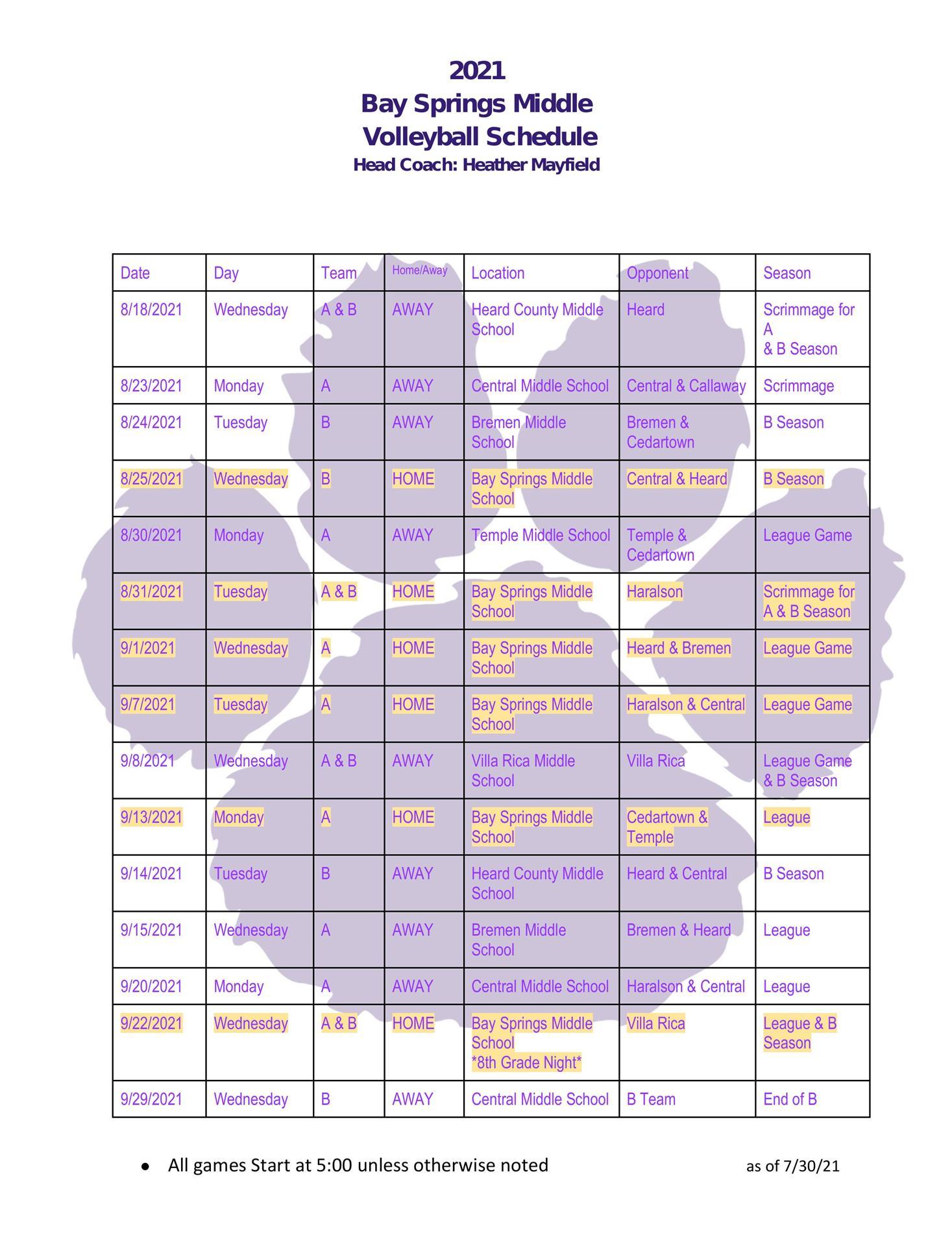 VBall Schedule