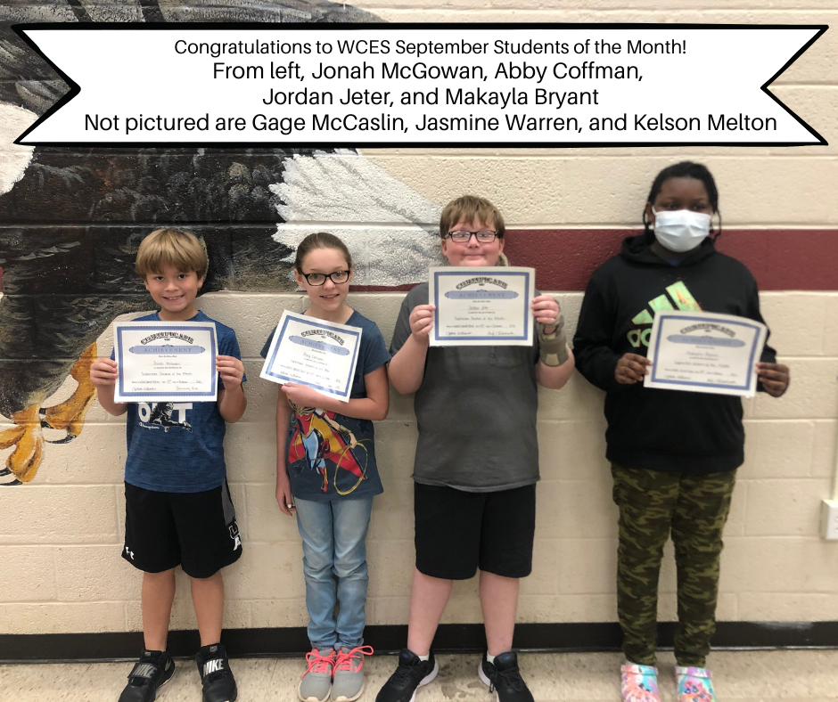 sept 2021 students of the month