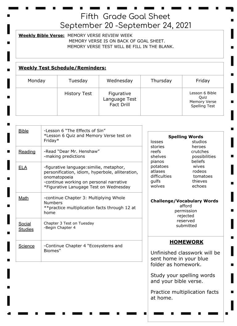 Week 7 Goal Sheet