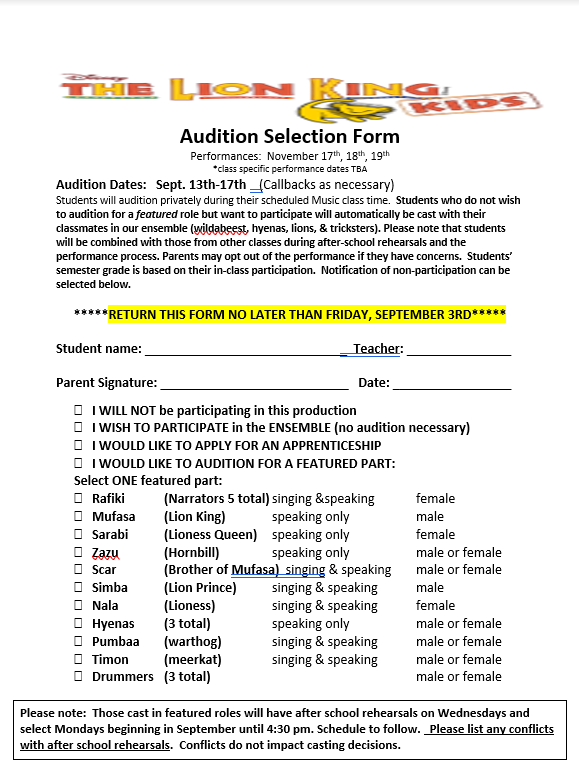 Audition Selection Form due September 3rd