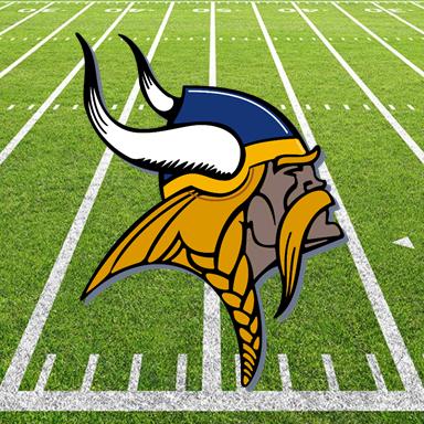 Viking logo football field background