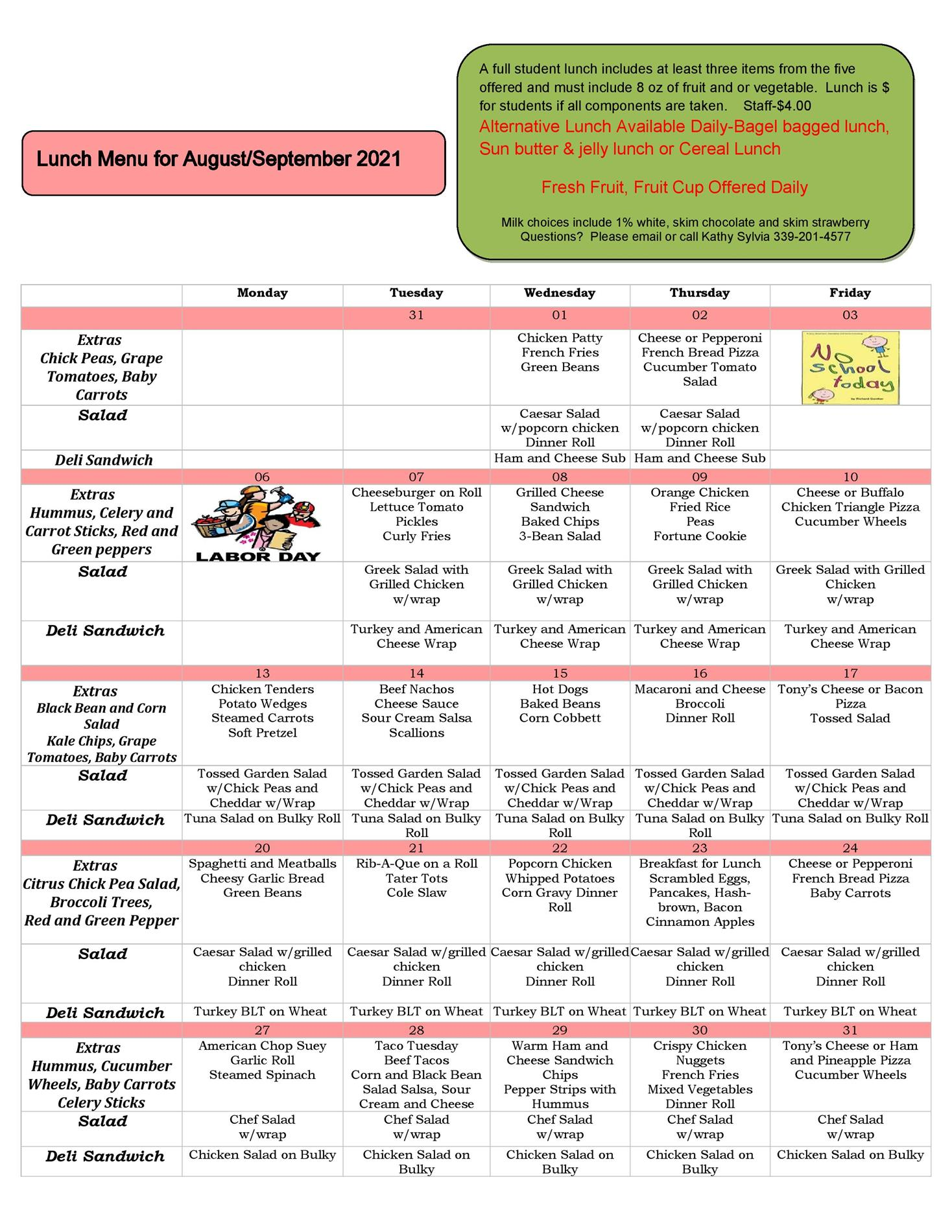 August and September 2021 Lunch Menu