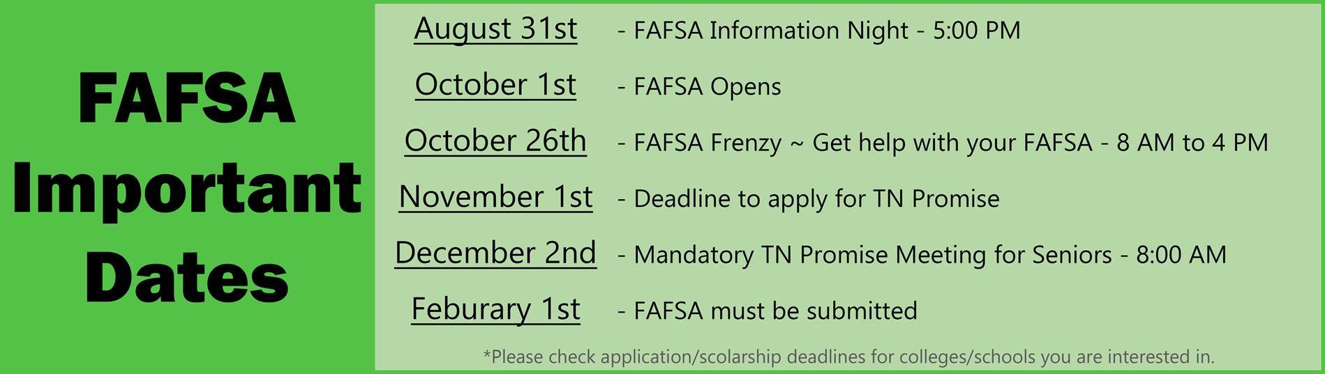FAFSA Important Dates