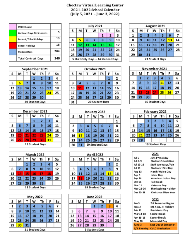 CVLC Calendar