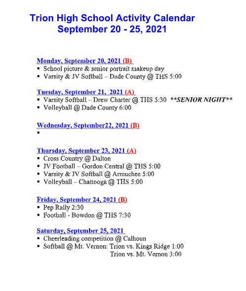 THS ACTIVITY CALENDAR FOR 09/20-25/2021