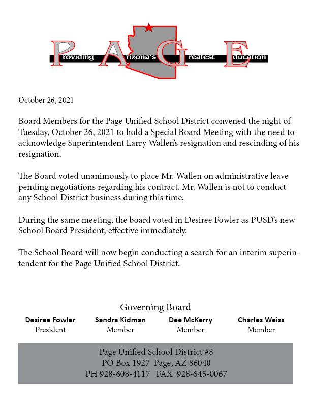 press release about former Supt. Wallen placed on admin leave