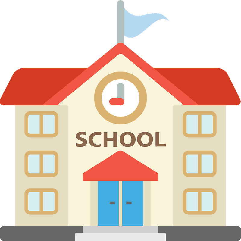 School building with clock and flag