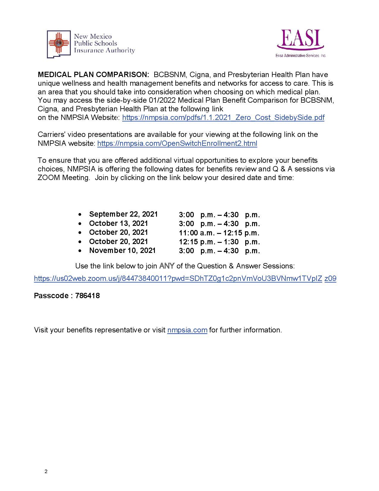 Open enrollment plan continuation