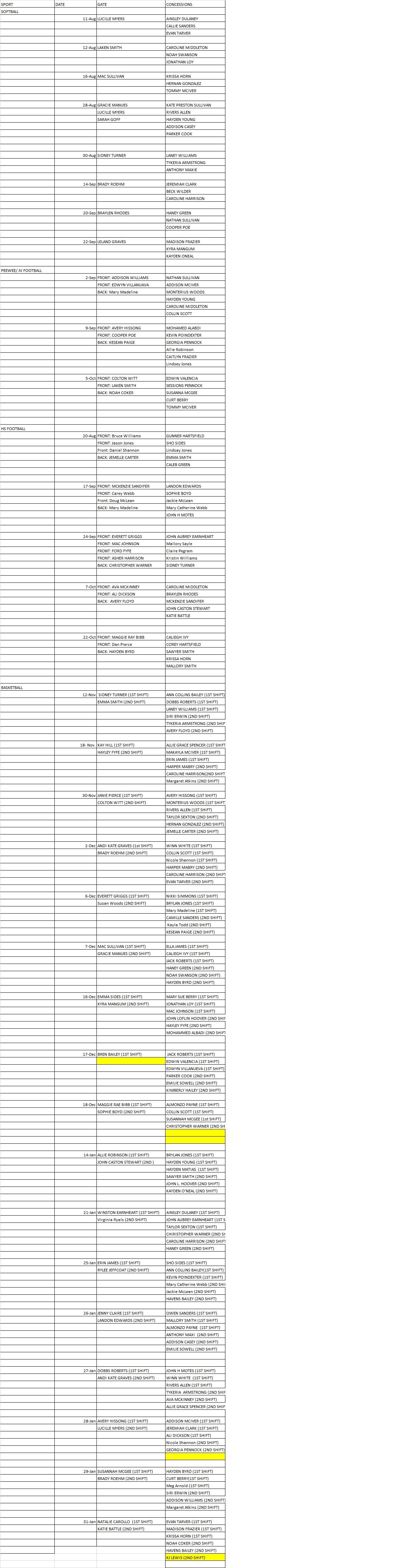 concession/ gate worker schedule