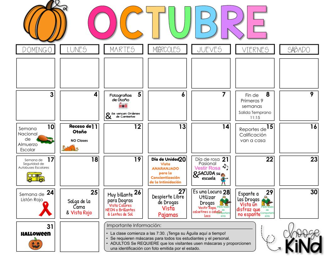 October Calendar - Spanish