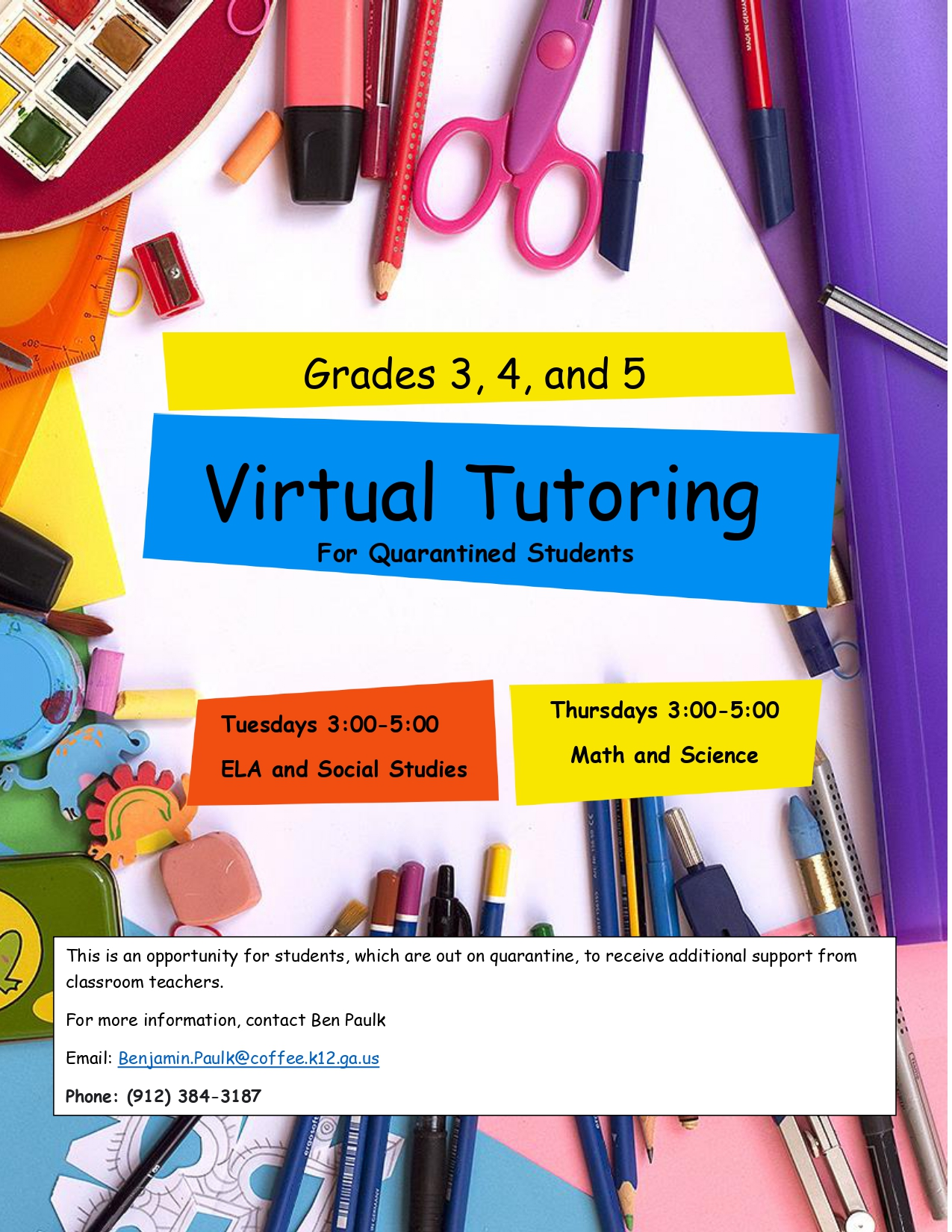 tutoring info for quarantined students