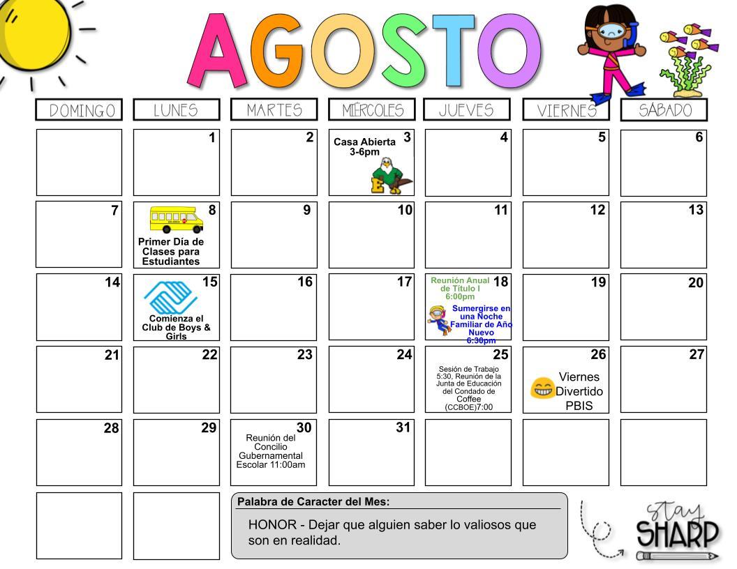 August Calendar Spanish
