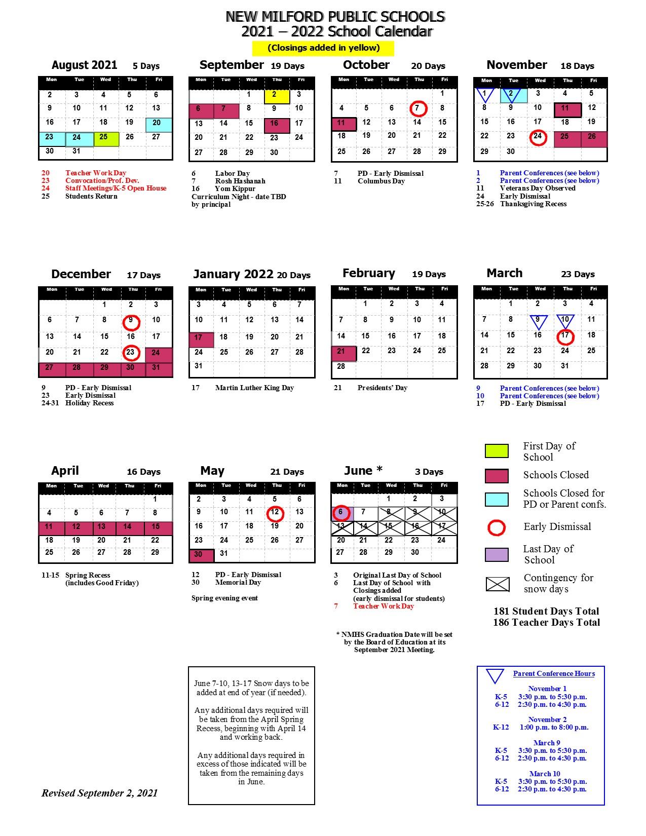 21-22 district calendar revised Sept 2, 2021